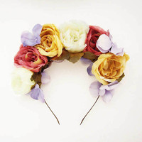 Candy Roses - Statement Floral Headpiece. Floral Crown. Floral Headband. Pink Champagne Ivory Lavender Roses. Lana del Rey