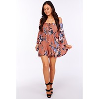 Devoted To You Floral Ruffle Romper (Mauve)