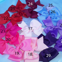 Choose 10 bows for 10.00 pinwheel hair bows baby hair bows infant hair bows girls hair bows 51 color choices no slip grippies available