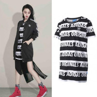 """Adidas""Fashion Casual Letter Long Sleeve Round Neck Dress"