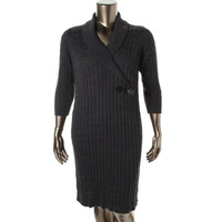 Calvin Klein Womens Plus Cable Knit Ribbed Trim Sweaterdress
