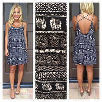 Taj Mahal Printed Dress - BLACK