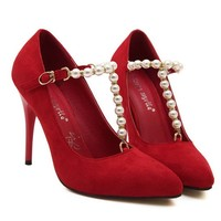 LUCLUC Red Rhinestone Crystal Suede High Heels Shoes - LUCLUC