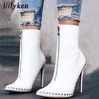 Eilyken 2018 New Arrival Autumn Women Ankle Boots  Rivet High Heels Shoes Woman Pointed Toe Sexy Motorcycle boots For  Females