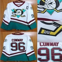 EJ Mighty Ducks Movie Jersey #96 Charlie Conway Hockey Jersey Stitched All Sewn White