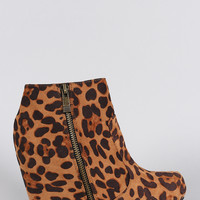 Bamboo Leopard Round Toe Wedged Booties