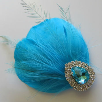 Bridal Wedding Bridesmaid Feather Hair Accessory, Feather Fascinator, Bridal Hair PIece, Turquoise, Blue Feather, Hair Clip