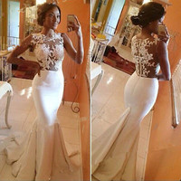 Long Sexy Lace Evening Party Ball Prom Gown Formal Bridesmaid Cocktail Dress
