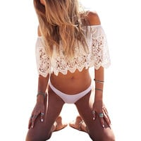 Hot 2016 New Fashion Women Ladies Summer White Crochet Lace Blouse Sexy Off Shoulder Crop Tops Overall Shirts chemise femme Z1