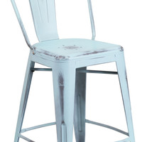 24'' High Distressed Dream Blue Metal Indoor Counter Height Stool with Back