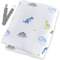 """Lulujo LJ036 Prehistoric Pals Muslin Cotton Swaddling Blanket 47""""x47"""" with Pacifier Clip"""
