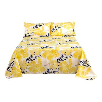 Tache Microfiber Contemporary Watercolor Floral Yellow Flat Bed Sheet (JHW-841)