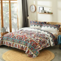 DaDa Bedding Bohemian Earthy Meadow Quilted Bedspread Set - Multi-Colorful Floral Paisley (160553-9)