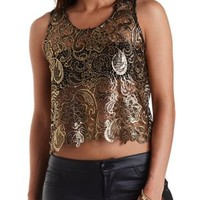 Foiled Lace Cropped Tank Top by Charlotte Russe - Black Combo