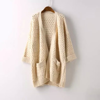 Long-Sleeve Pocket Knitted Cardigan