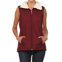 Casual Solid Quilted Zip Up Sleeveles Padded Vest Jacket Coat with Fur Inside