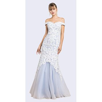 Off-Shoulder Mermaid Style Long Prom Dress White/Perry Blue