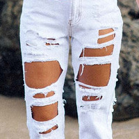 White Distressed Rip Jeans