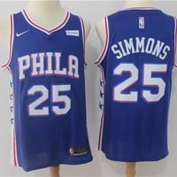 Best Sale Online NBA Basketball Jersey Philadelphia 76ers # 25 Ben Simmons Blue