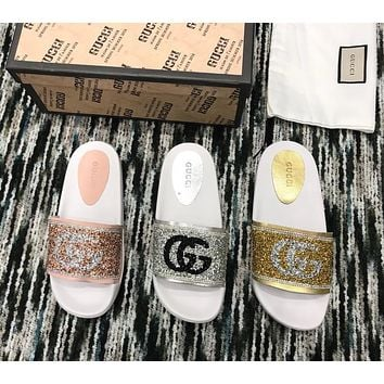 Gucci Logo slippers with drill letters Slipper