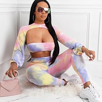 Printed blouse sexy wrap chest casual sports suit three-piece suit tie dye purple pink
