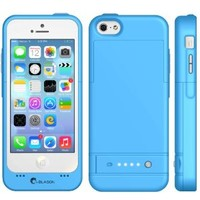 i-Blason Apple iPhone 5C PowerGlider Rechargeable External Battery Full Protection Case [iOS 7 Compatible] with Apple new 8 Pin Lightning Charging Connectors - AT&T, Sprint, Verizon. T-Mobile (blue)
