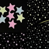 Fluorescent light Decor Stickers GLOW in the DARK SPACE (100 Pcs in a Set) Wall Ceiling Decals STARS Kid Room CX221