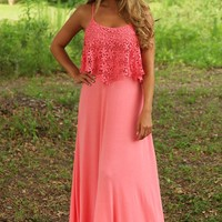 Blink Of An Eye Maxi Dress: Coral