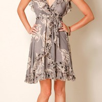 Taupe Ruffled Silk Chiffon Sundress