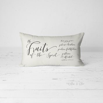 Decorative Lumbar Throw Pillow - Fruit of the Spirit Modern Calligraphy