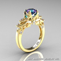 Classic Angel 14K Yellow Gold 1.0 Ct Chrysoberyl Alexandrite Diamond Solitaire Engagement Ring R482-14KYGDAL