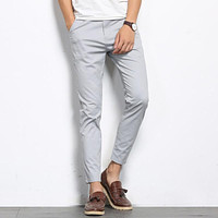 BROWON Autumn Men Fashions Solid Color Casual Pants Men Straight Slight Elastic Ankle-Length High Quality Formal Trousers Men