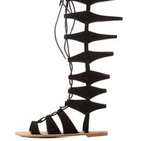 Black Qupid Lace-Up Tall Gladiator Sandals