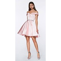 Off the Shoulder Blush Knee Length Satin Party Dress