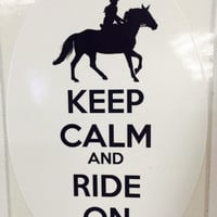 Keep Calm and  Ride On, White Oval Decal for Horse Lovers *FREE Shipping