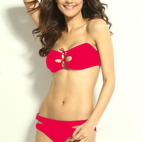 Pink Tie String Strapless Bandeau with Cut-Outs