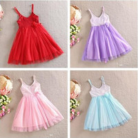 EMS/DHL/FEDEX/UPS Free Fast Shipping 2015 Summer Girls Bow Flower Sequins Dresses Girls Cotton Red Slip Dress Girls Big Flower Dresses.