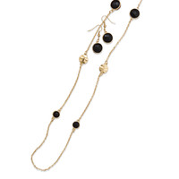 Ultra Long Black Gold Tone Fashion Necklace and Earring Set