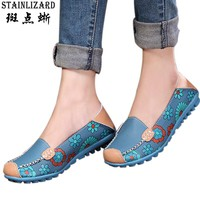Women Flats 2017 PU Leather Casual Loafers Floral Walking Shoes Woman Moccasins Ladies Fashion Brand Women Casual Shoes DT913