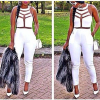 Womens White Bandage Jumpsuits Rompers Clubwear S/M/L = 1917059076