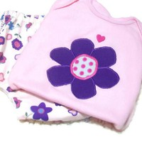 Baby Girl Diaper Cover Set, Girls Daisy Outfit, Purple and Pink Outfit,Baby Girl Fashion, 3 - 6 Month Baby Girl, Baby Girl Gift,