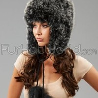 Knit Fox Fur Bonnet Hat with Pom Poms - Black Frost