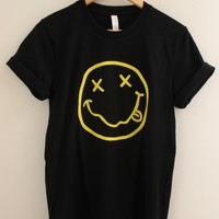 Grunge Smiley Face Black Graphic Top