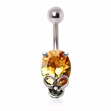316L Surgical Steel Topaz Gem Alien Skull Navel Ring
