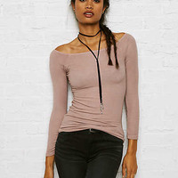 Don't Ask Why Ribbed Off-the-Shoulder Top, Just Rosey