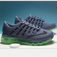 NIKE AirMax Trending Fashion Casual Sports Shoes gray/green soles H-PSXY