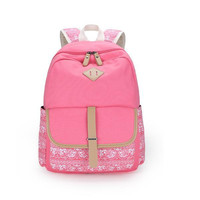 Canvas Backpack Korean Soft Print Stylish Pc Travel Bags [6304977604]