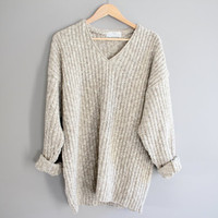Marks and Spenser oatmeal natural cream slouchy loose fit oversize cotton knit sweater size s - l