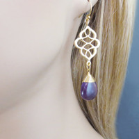 Amethyst, Earrings, Purple, Celtic, Earrings, Simple, Modern, Dangle, Jewelry, Gift, Gold, Earrings, Celtic, Knot, Earrings