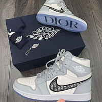 Dior NIKE Shoes Louis Vuitton Sneakers Air Jordan 1 AJ 11 high-top basketball shoes PU Coffee Print